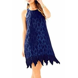 NWT Lilly Pulitzer marquette navy silk shift dress